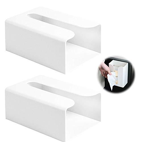 Dispensador de Toallas de Papel Sin Agujeros Caja Porta Pañuelos para Montaje en Pared Dispensador de Secamanos Dispensador de Bolsas de Basura Dispensador de Papel de Manos Plástico Blanco 2 Piezas