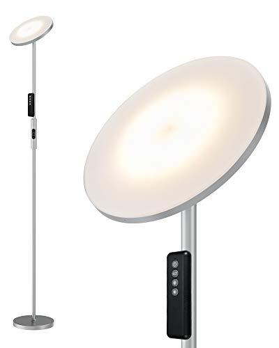 Anten 20W Matt-hellgrau LED Stehlampe Dimmbar | Stehleuchte mit Fernbedienung | Farbwechsel 3000K/4000K/5000K | Touch-Taste Memoryfunktion LED Standleuchte für Wohnzimmer Schlafzimmer Arbeitszimmer