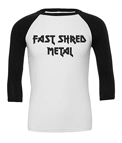 Fast Shred Metal T-Shirt Baseball 3/4 Herren Rock, Large, Weiß