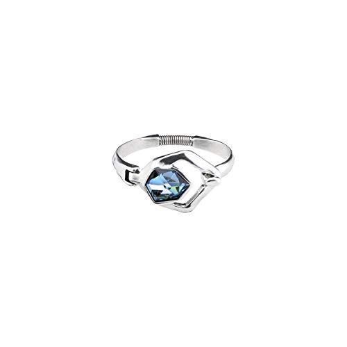 Pulsera rígida con baño en Plata y Un Cristal Central de Swarovski Elements en Color Azul Sahara. Una pulsera con Mucho Estilo realizada a Mano en España por UNOde50.