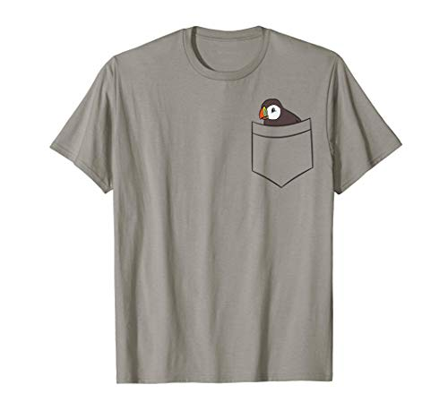 Puffin In The Pocket Seabird Iceland Pocket Puffin T-Shirt