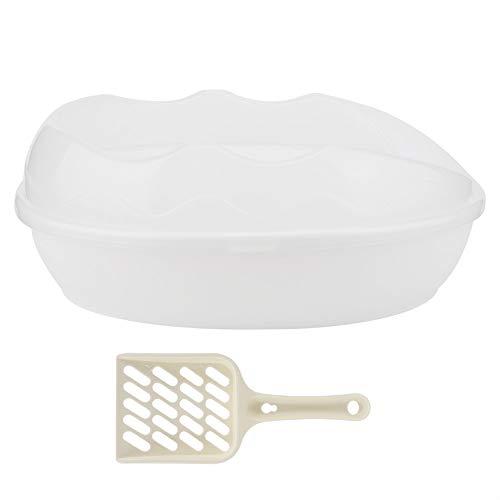 OhhGo Vaschetta per Lettiera Semichiusa in Plastica per Animali Domestici Vassoio Resistente agli Schizzi Vasino con Pala (Bianco)
