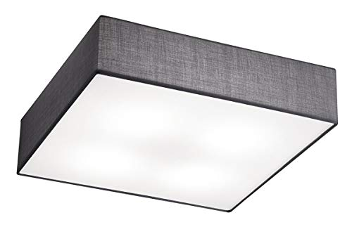 Trio Lighting Embassy Trio 603800487-Plafón LED Cuadrado, IP20, E27, 230 V, Color níquel Mate, 60 W, Gris, 50 x 50...