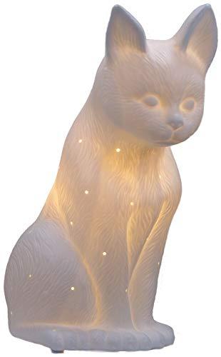 Plaristo Katzen-Lampe, Porzellan, 5 cm, Keramik, Weiß