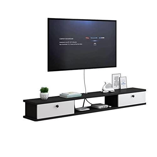 YU-FEI Parete Mobile TV, Mensola di Galleggiamento con 2 Cassetti, Adatto per La Casa, L'Ufficio, Console Sala Multimediale(Size:120x22x19cm,Color:Grigio)