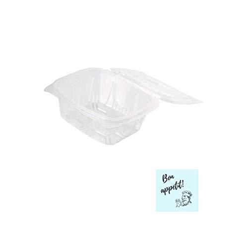 envases desechables para alimentos fríos 500cc PACK 50 unidades + 10 PEGATINAS DE REGALO envase hermetico de plástico con tapa