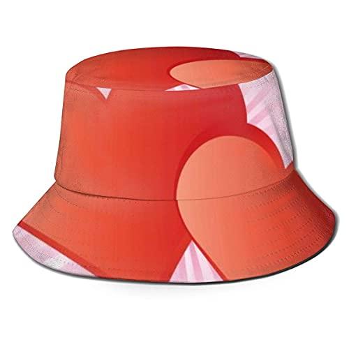 Gorras Red Love Hearts Tarjeta de San Valentín Sombrero de Pescador Algodón Adultos Sombrero de Cubo Pesca de Verano Fisher Beach Festival Gorra para el Sol