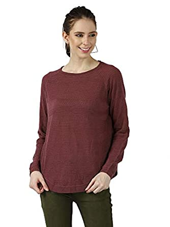 MansiCollections Women's Acrylic Round Neck Full Raglan Sleeves Wine Pullover