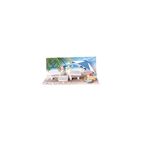 LICHT Pop Up 3D Panorama Karte Geburtstag Grußkarte Urlaub Strand 10x23 cm