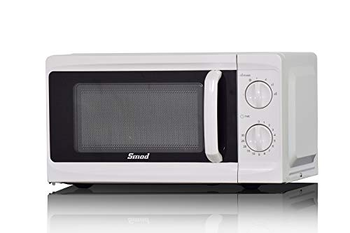 Smad Microwave Ovens 700 W 17 L, Small White Microwave with 6 Power Levels, Manual Control, Function Defrost, Easy Clean