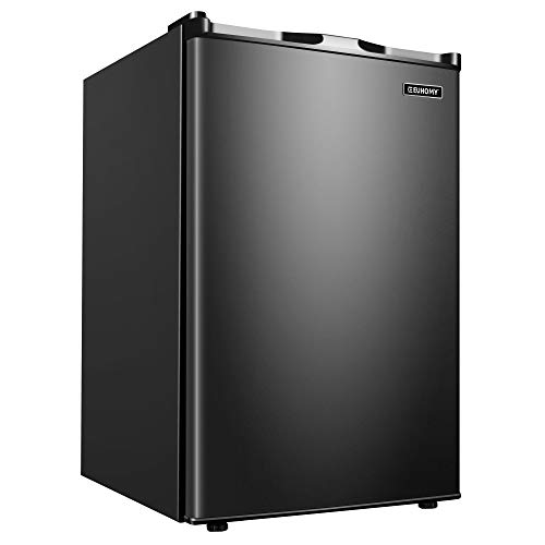 Euhomy Upright Freezer, Energy Star 3.0 Cubic Feet,Compact Single Door Freezer with Reversible Stainless Steel Door, Mini Freezer for Home/Dorms/Apartment/Office(Black)