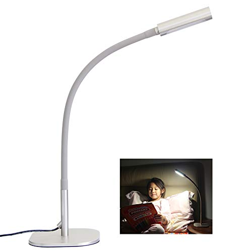 acegoo Gooseneck LED Desk Lamp, Dimmable Minimalist Table Light for Bedside Reading, Studying, Computer and Hobbies, Flexible Arm Rotary Lens & Lampshade Touch Control, Modern Metallic Gray