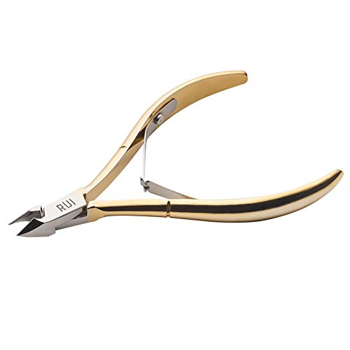 Rui Smiths Professional Cuticle Nippers, Gold-Plated Carbon Steel, French Handle, Double Spring, 6mm Jaw (Full Jaw)