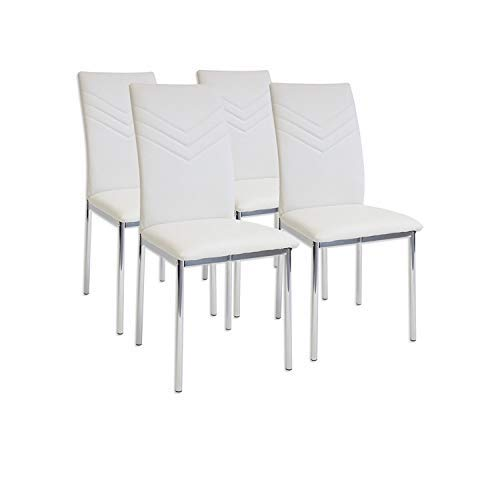 Albatros 2935 Verona Set de 4 sillas de Comedor, Blanco, pie de Cromo, SGS Tested