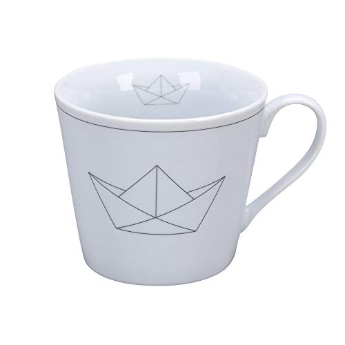 Krasilnikoff - Happy Cup - Becher, Tasse mit Henkel - Paperboat - Porzellan - H9 x Ø10 cm - Volumen: 400 ml