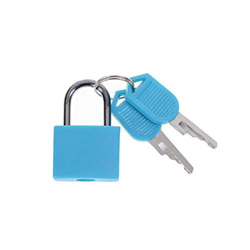 Sluitcilinder, 6 kleuren, klein mini-hangslot van sterk staal, voor op reis, met 2 sleutels 5 stuks.