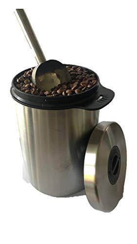 Kaffeedose, luftdicht, für 1kg Kaffeebohnen, Edelstahl Kaffeebehälter mit Schaufel, Aroma-Verschluss, auch zur Aufbewahrung von Tee, Kakao, Pulverkaffee, Nudeln, Vorratsdose, Teedose silber