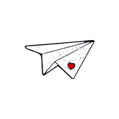 Origami papel avión barco de papel esmalte blanco artesanía amante broche insignia de Metal Pin lindo disfraz de moda para niños