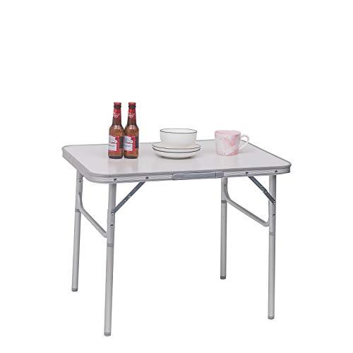 WOLTU CPT8131ws Table de Camping Pliable Table de Jardin Pique-Nique Table  de Balcon réglable en Hauteur en Aluminium MDF