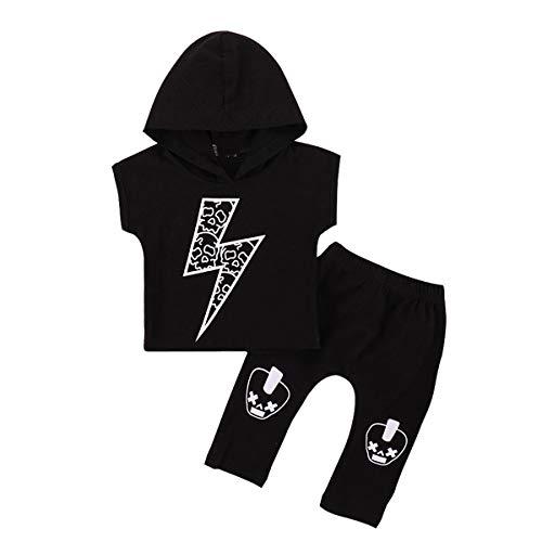 Puseky 2pcs / Set bébé garçon Lightning Imprimer Hip-Hop à Capuche T-Shirt + Pantalons vêtements Ensembles (Color : Black, Size : 9M-12M)