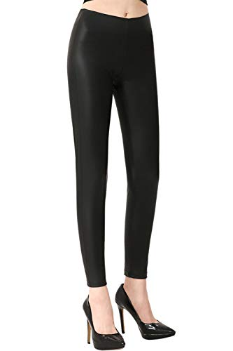 Everbellus Black Leather Leggings for Women Tummy Control Stretchy Leather Pants Large