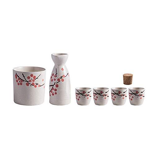 Fijn keramische Sake Warmer Wijn Set, Zelfgemaakte warme wijn Traditioneel met de hand geschilderd bloem ontwerp met inbegrip van 4 wijnglazen 1 Wijn Jug 1 Wijn Warmer 1 Cork Stopper