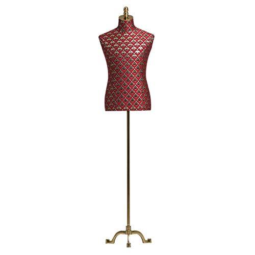 FSFF Maniquí de Sastre Masculino, Busto de exhibición de modistas de maniquí Ajustable en Altura con Base de Metal Adecuado para Soporte de exhibición de Ropa de Hombre (Color: Rojo, tamaño: sin