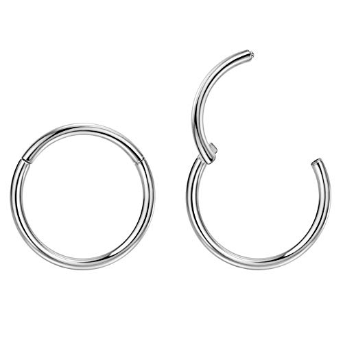 2pcs G23 Titanium 7mm Nose Hoop Septum Ring 14 Gauge Earrings Helix Earring Tragus Earrings Silver Nose Ring Hoop 14g Nose Rings Cartilage Earring Rook Earrings Nose Piercing Jewelry Septum Clicker