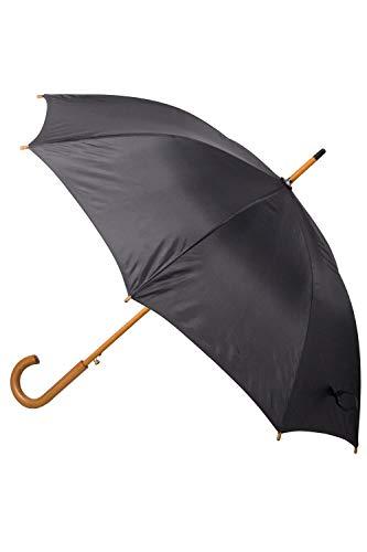 Mountain Warehouse Classic Umbrella - Plain – Extra Protection Patio Brolly, Stylish Sun Umbrella, Lightweight, Curved Wooden Handle Garden Umbrella –For Picnics Black
