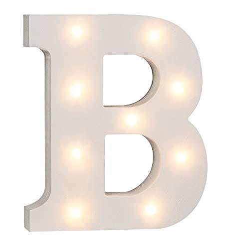 LED Buchstaben Alphabet Beleuchtet Buchstaben A bis Z und & Zeichen wählbar Holz weiß lackiert Batteriebetrieben (LED Buchstabe B)