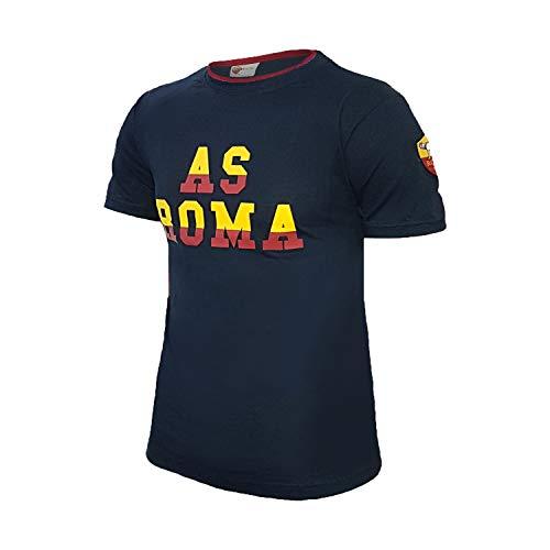 AS Roma t-Shirt Uomo Mezza Manica Girocollo in Cotone Prodotto Ufficiale Art. 13656 (L, Blu)