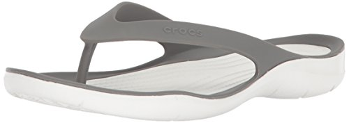 Crocs Swiftwater Flip Women, Zapatos de Playa y Piscina para Mujer, Negro (Black/White 066), 41/42 EU