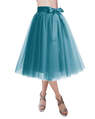DRESSTELLS Knee Length Tulle Skirt Tutu Skirt Evening Party Gown Prom Formal Skirts Turquoise L-XL