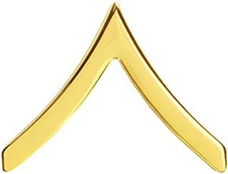 US Army Chevron Rank Private E 2 PV2 22k Gold Plated Sold as Pair Gold