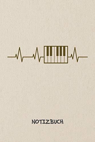 NOTIZBUCH: Notebook für Sänger Musik Bands & Instrumente Liebhaber - musikalisches Geschenk für Freundin und Freund | Notizheft in A5 (6x9 Inch) | ... | Heartbeat Klavier Cover Motiv