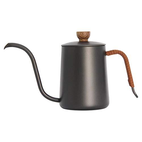 FLAMEER Tetera de acero inoxidable de boca larga de 350/600ml con tapa de cuello de cisne para cocina, tetera, tetera, taza de café, tetera de largo y - 350ml