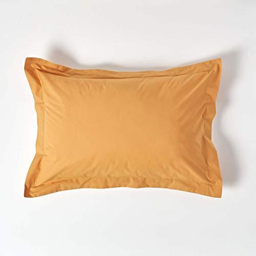 HOMESCAPES Funda de almohada Oxford de algodón egipcio puro amarillo mostaza, tamaño estándar 200 TC 400 hilos, equivalente a percal