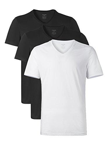 Genuwin 3 Pack Camisetas Hombre Manga Corta con Cuello En V, Camisetas Hombre Originales de 100% Algodón Súper Suave, Camiseta de Negocio