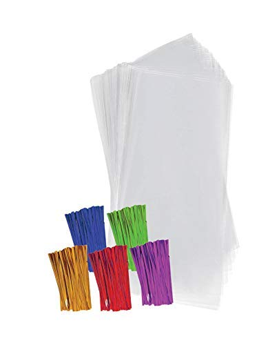 """Clear Plastic Cellophane Treat Bags With 4"""" Colored Twist Ties Plastic Gift Bags, Party Favor Bags (4""""x9"""", 100 Pack)"""