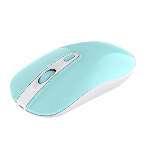 cimetech Wiederaufladbare Kabellose Maus, mit USB Nano Empfänger Kabellose Ergonomische Maus, 800/1200/1600 DPI, Leise Funkmaus für Windows/Mac/Linux, Türkis