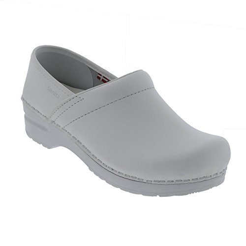 Sanita Women's Professional PU Leather Clogs White