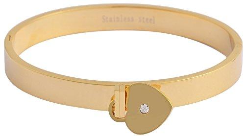 Akzent Edelstahl Armreif Armband Gravurfähig Goldfarbig Glänzend mit Herz Anhänger 003895000015 und Clipverschluß, Länge 22cm, Breite 8mm