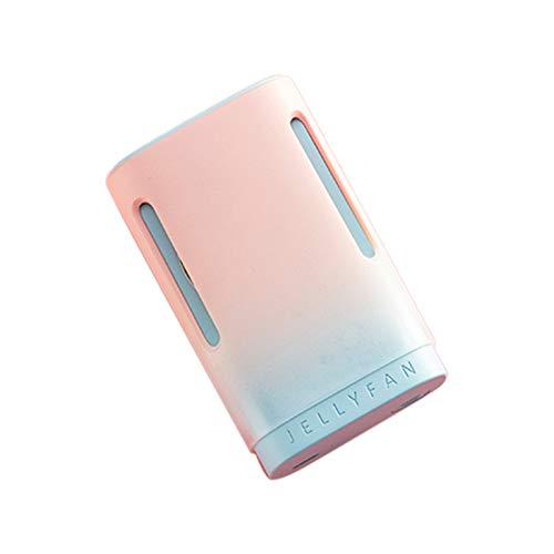 Milkvetch Ventilador de Cuello Colgante PortáTil USB Recargable Ventilador de Escritorio Ventilador de Gradiente de Moda de Mano Personal - Verde + Naranja
