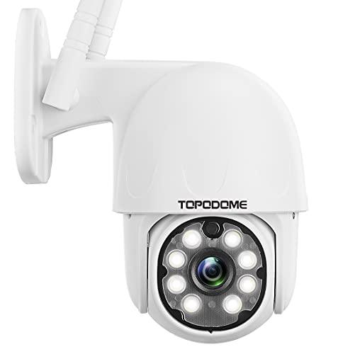 Videocamera Sorveglianza Esterno Interno WiFi, Topodome IP Camera Senza fili Con Rilevazione Umana, Visione Notturna a Colori 25m, Pan 355°Tilt 120°/ Automatico Tacking/ Audio a 2 Vie/ ONVIF/ RTSP