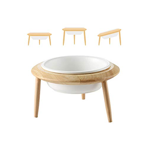 White Ceramic Adjustable Elevated Raised Pet Bowl with Wood Stand for Cats...