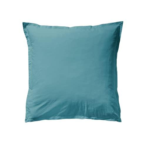 ESSIX Tendresse - Funda de Almohada (algodón, 65 x 65 cm), Color Azul