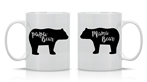 Mama Bear, Papa Bear Couples Mug - Funny Couple Mug - (2) 11OZ Coffee Mug - Funny Mug Set - Mugs For boyfriend and Girlfriend and Husband and wife - By AW Fashions