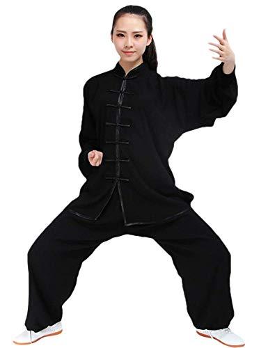 SCDXJ Tai Chi Kleidung aus Baumwolle und Seide, für Männer und Frauen, Schwarz , XXX-Large