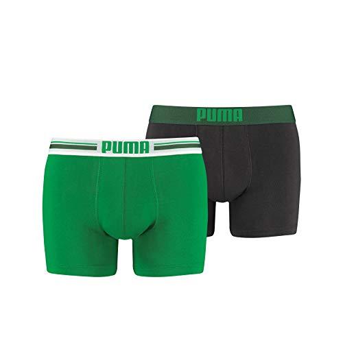 Puma - Placed Logo Boxer 2P - Homme - Vert - Medium - Lot de 2