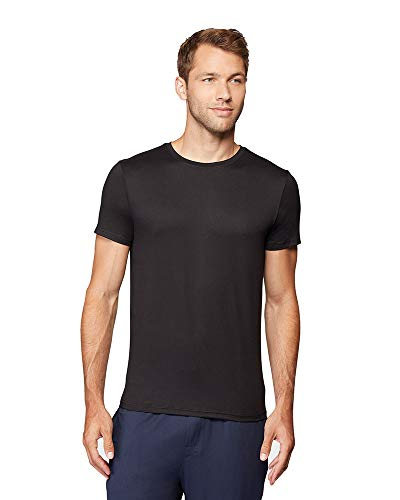 32 DEGREES Mens Cool Quick Dry Active Basic Crew T-Shirt, Black, Large